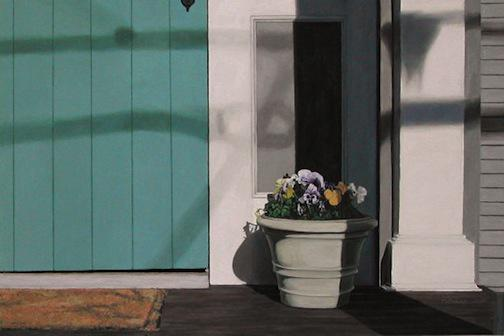 Pansies and Door, painting by Mary Baker