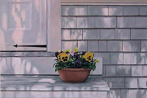Pansies on Stoop, painting by Mary Baker