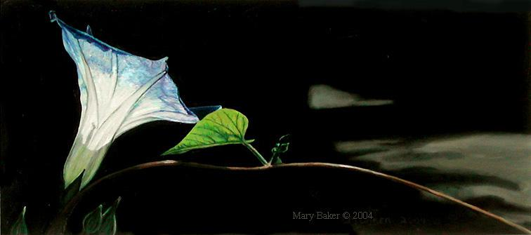 Morning Glory and Road, painting by Mary Baker