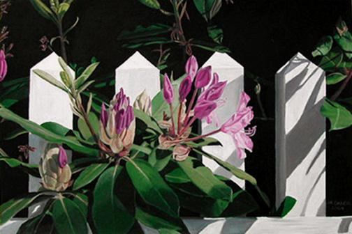 Rhododendron and Fence, painting by Mary Baker