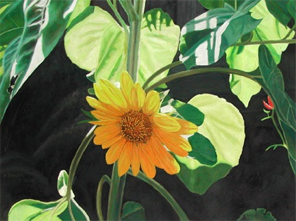Sunflower 2, painting by Mary Baker