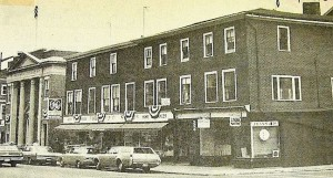 The buildings next to the Five Cents Savings Bank in downtown Newburport that were demolished in 1972 to make way for a drive though addition.