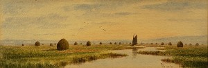 "Frank Thurlo, 1828-1913, MA, watercolor on paper of Plum Island River and Marshes, signed lower right,  4 1/8"" x 12 1/8"" , click to enlarge"