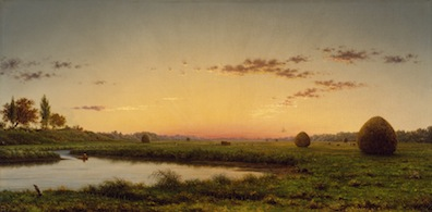 "Martin Johnson Heade, ""Haystacks on the Newburyport Marshes"""