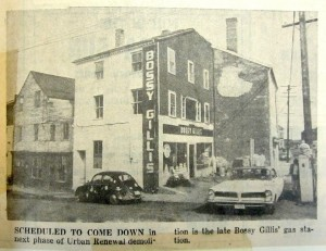 Bossy Gillis's garage, Market Square, Urban Renewal, press image to enlarge.