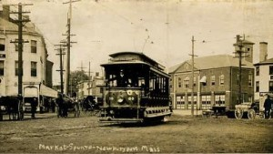 Newburyport's Market Square and the trolley. Press image to enlarge