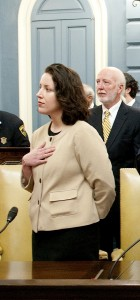Kathleen O'Connor Ives being sworn in as State Senator