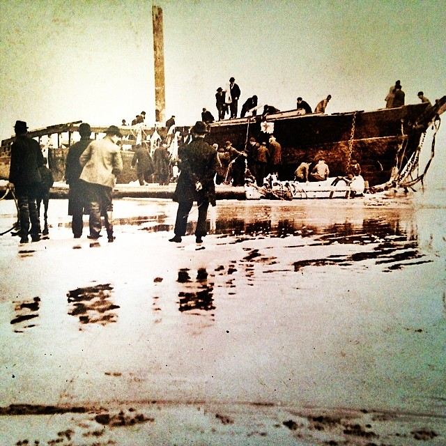 A Plum Island shipwreck from the exhibition of Plum Island Shipwrecks from 1772-1936