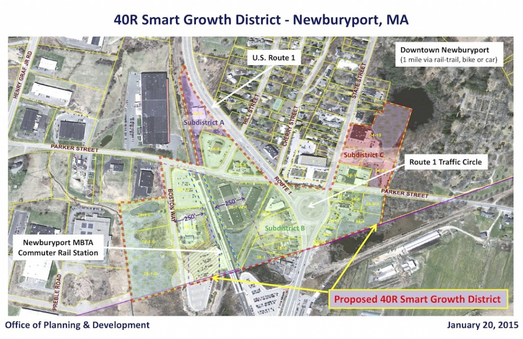 A map of Newburyport's proposed 40R District.