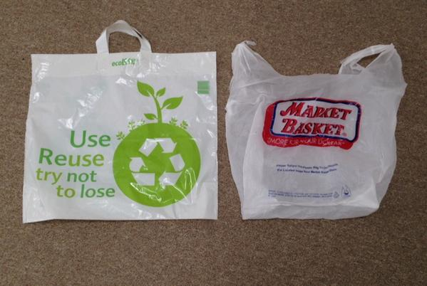 New and old plastic bags from Market Basket.