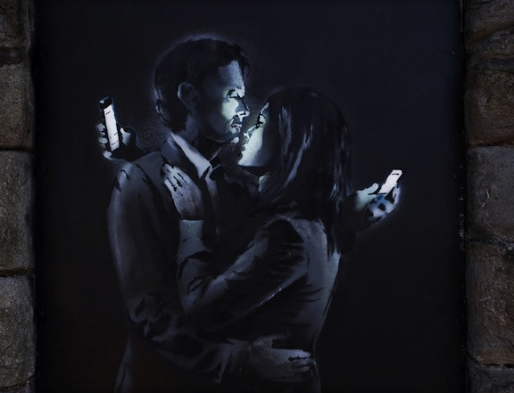 Mobile Lovers, street art by Bansky