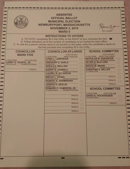 Newburyport 2015 ballot