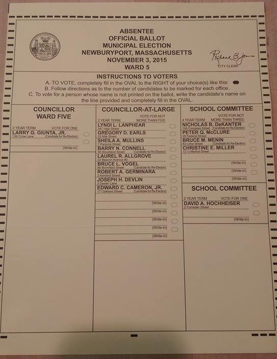 Newburyport 2015 ballot