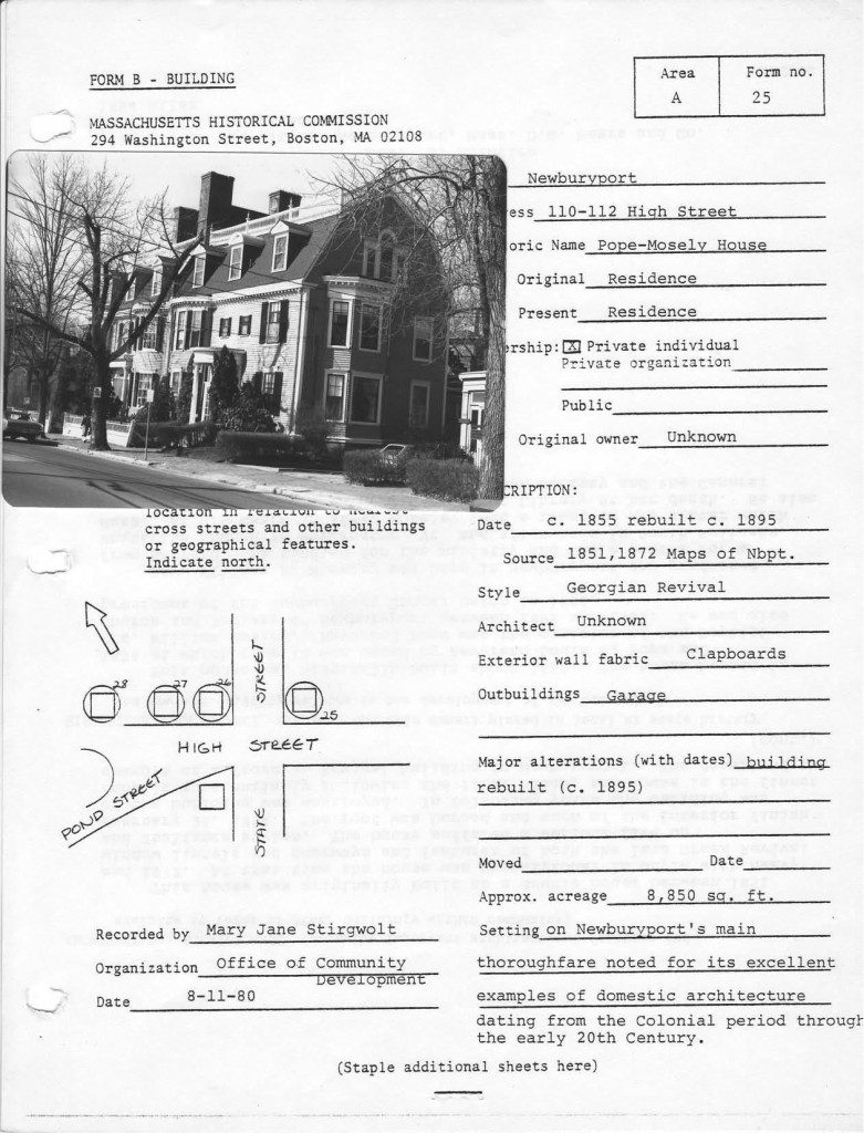 110-112 High Street, Newburyport, Historic Survey