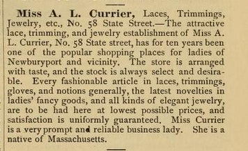 A description of Abbie's store from a 1886 City Directory