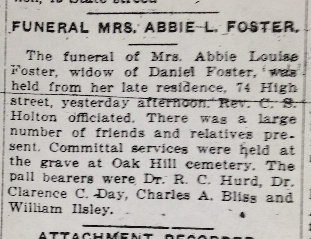 The write-up of Abbie Foster's funeral