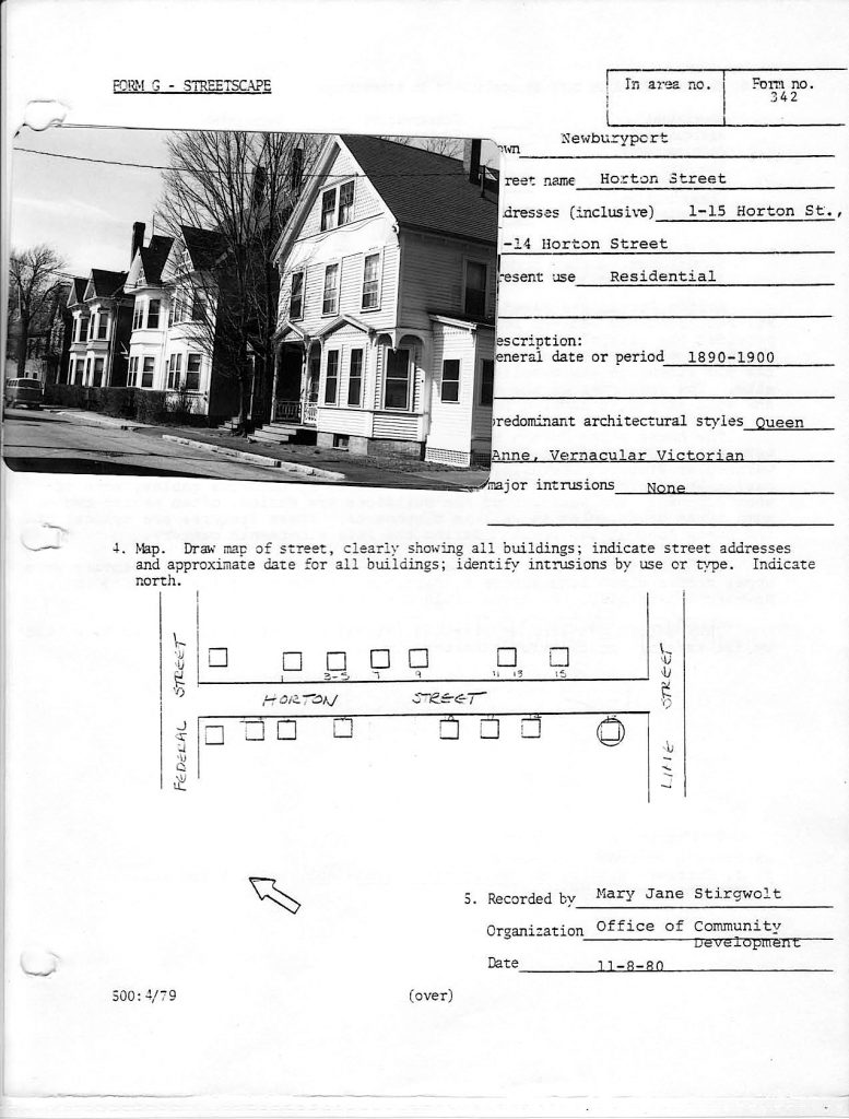 Horton Street, Newburyport HIstoric Surveys
