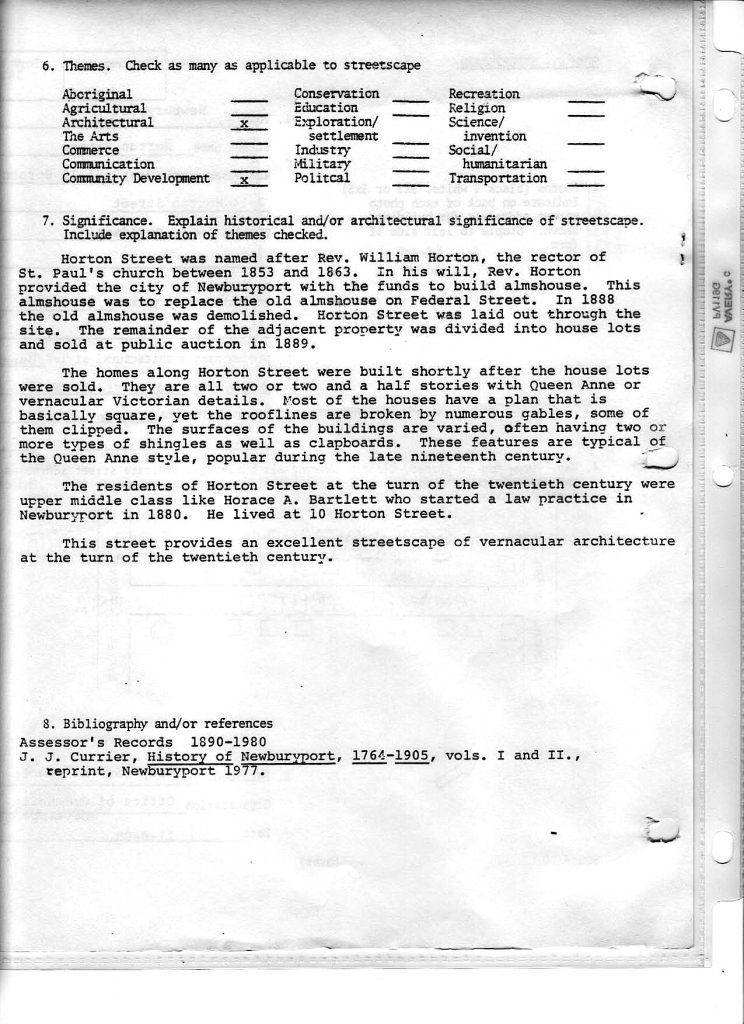Horton Street, Newburyport HIstoric Surveys Page 2