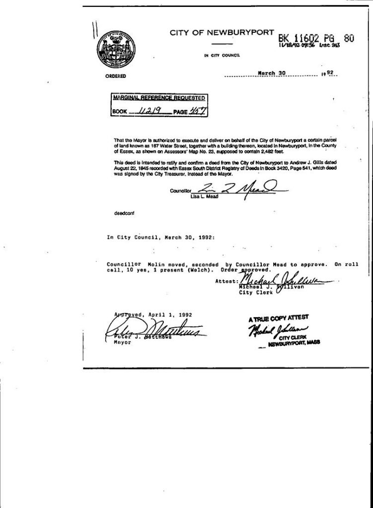 1992 Deed Claification by the Newburyport City Council