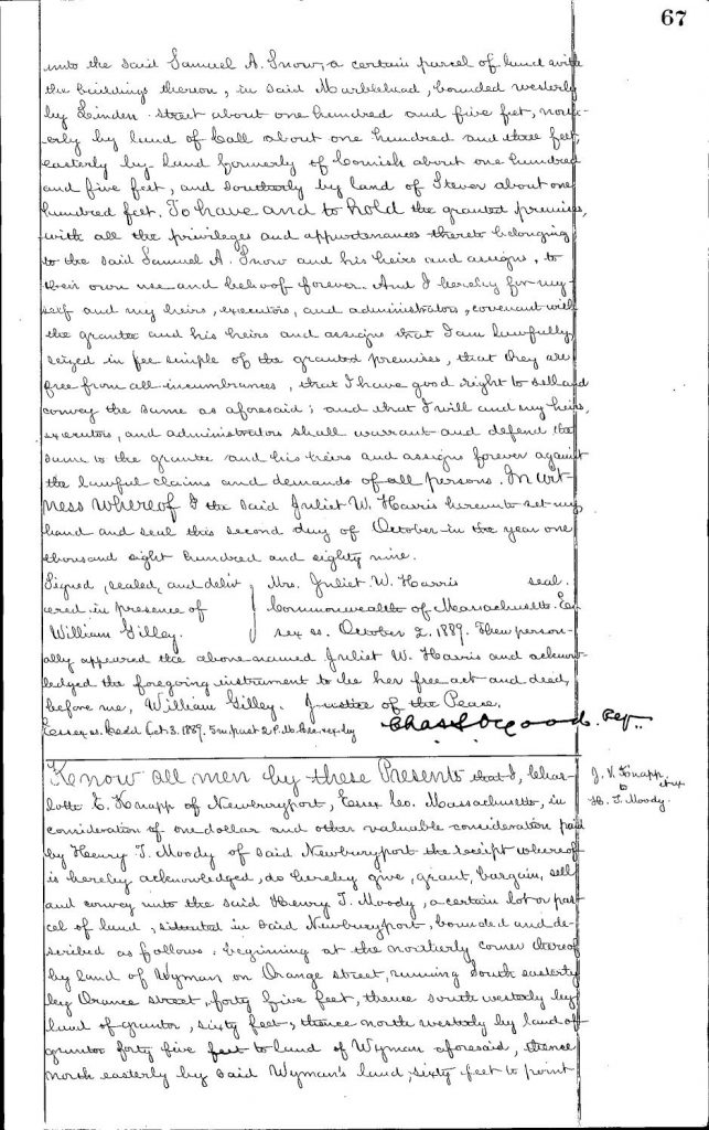 The original 1889 Deed for 20 Orange Street, page 1