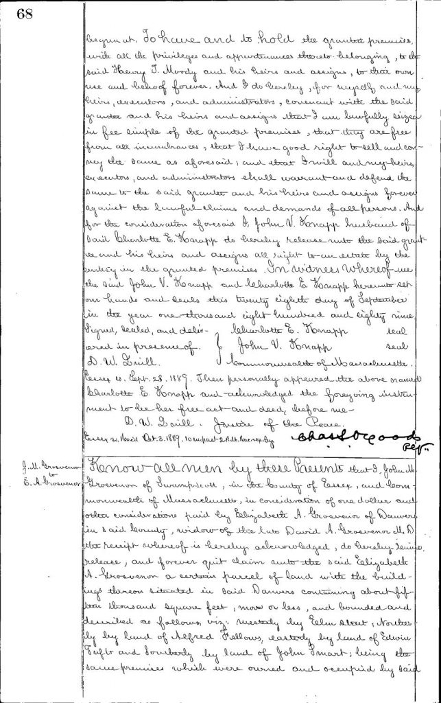 The original 1889 Deed for 20 Orange Street, page 2