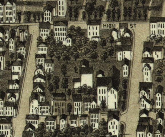 1880 Birds Eye Map showing the Old Almshouse