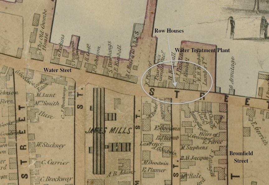 1851 Map Showing Row Houses on Water Street
