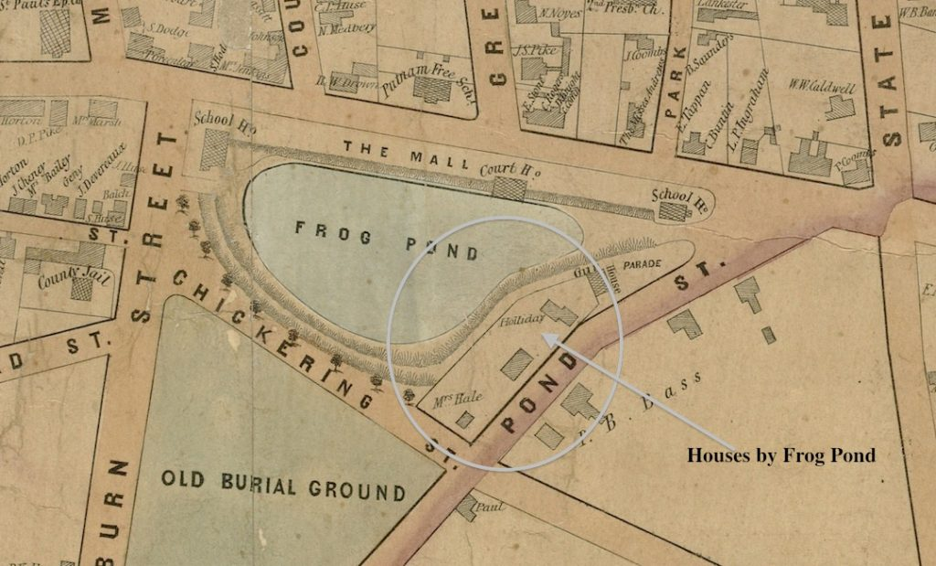 Detail of 1851 Map of Newburyport showing houses by the Bartlet Mall