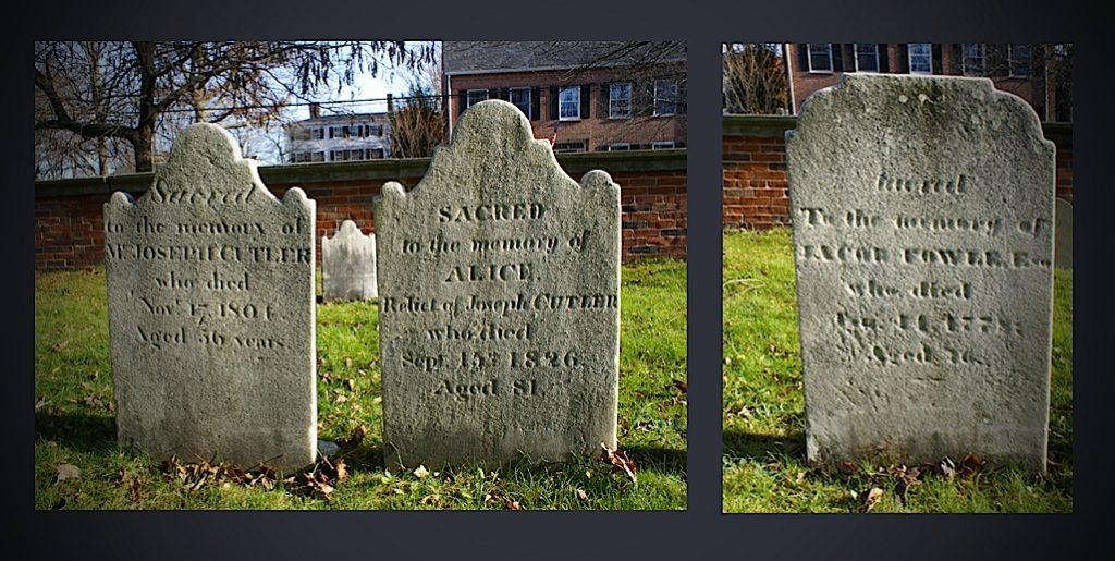 Alice's grave at St Paul's Church in Newburyport, between the graves of her two husbands, Joseph Cutler on the left and Jacob Fowle Jr. on the right.