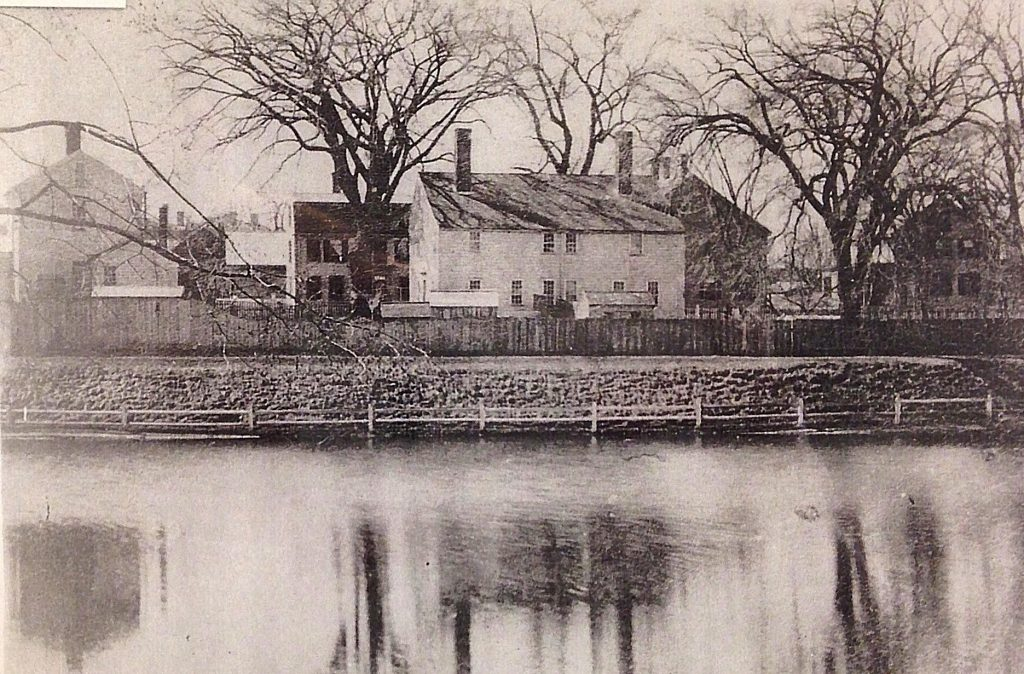 Houses Across from CVS once by Frog Pond the Bartlet Mall, detail courtesy of the Archival Center at the Newburyport Library.