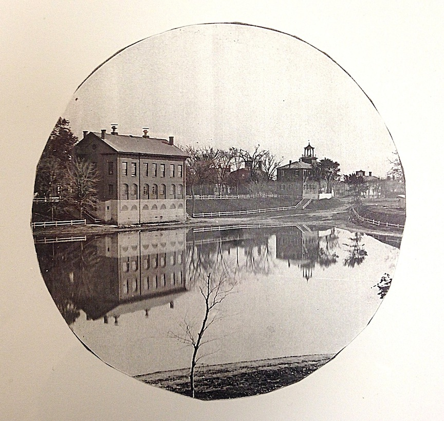 The back of the 1796 School house, Frog Pond and the Courthouse courtesy of the Archival Center, the Newburyport Public Library.