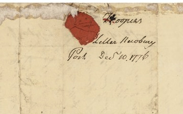 A Piece of the envelope for the letter from Hooper, Newburyport, 1776