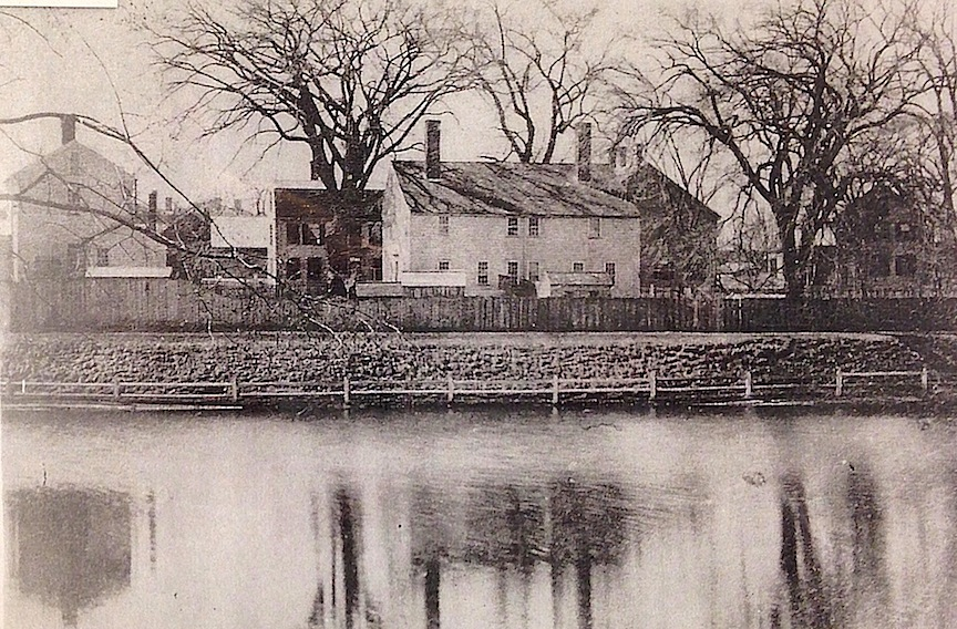 The houses on Frog Pond, courtesy of the Archival Center at the Newburyport Public Library