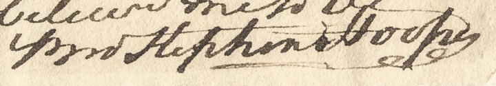 Signature on a letter dated 1776 by Stephen Hooper