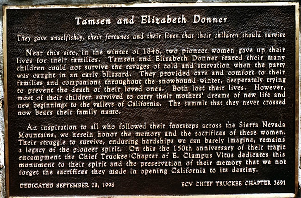 The plaque for Tamsen and Elizabeth Donner