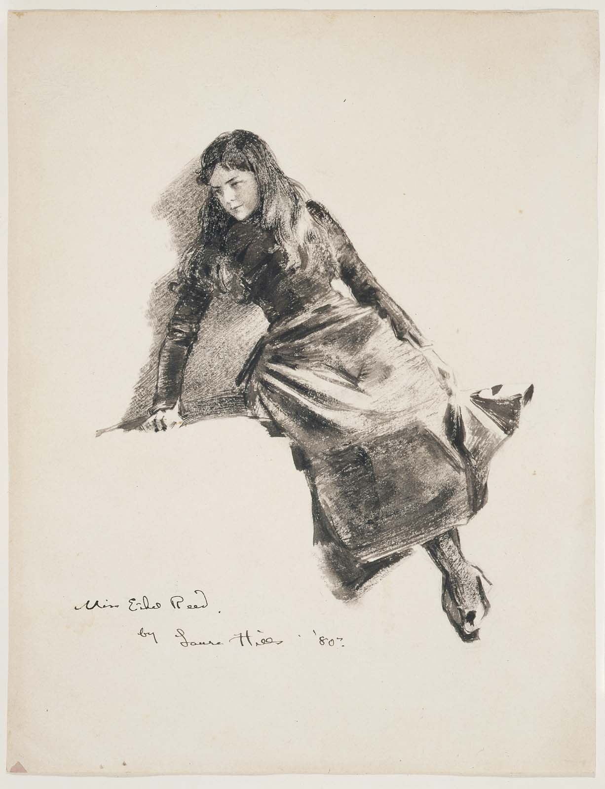 Ethel Reed, by Laura Coombs Hill, 1880, 10 x 7 3/4 inches Wash and chalk on paper, Museum of Fine Arts, Boston