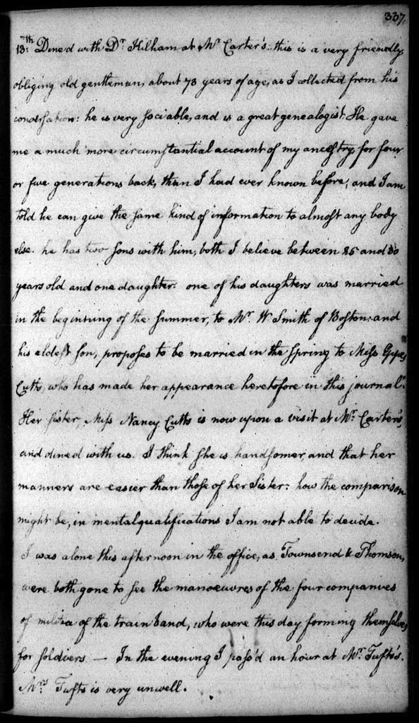 The actual page from John Quincy Adams Diary describing his account of dining with Nathaniel Carter