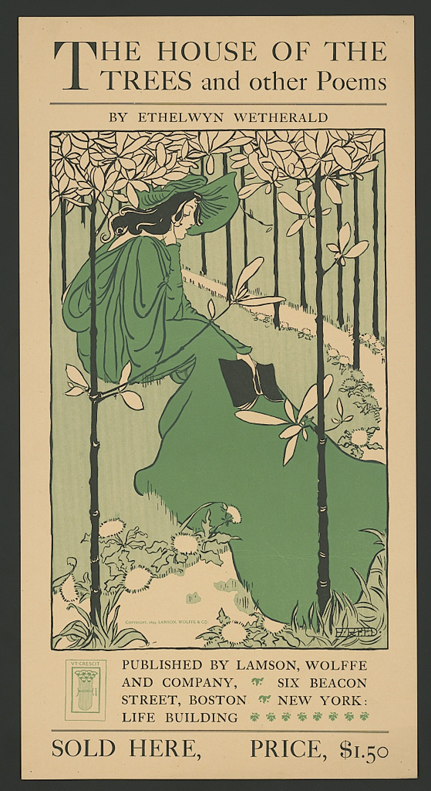 A poster by Ethel Reed, The house of the trees and other poems by Ethelwyn Wetherald Boston : Lamson, Wolffe, 1895, courtesy of the Library of Congress Prints and Photographs Division Washington, D.C