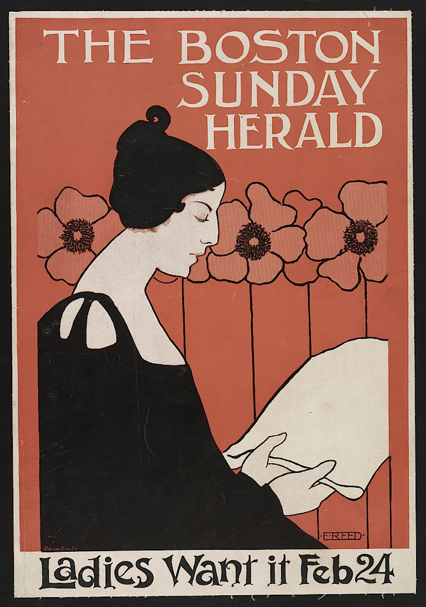 A poster by Ethel Reed, The Boston Sunday Herald, Ladies Want It, courtesy of the Library of Congress Prints and Photographs Division Washington, D.C