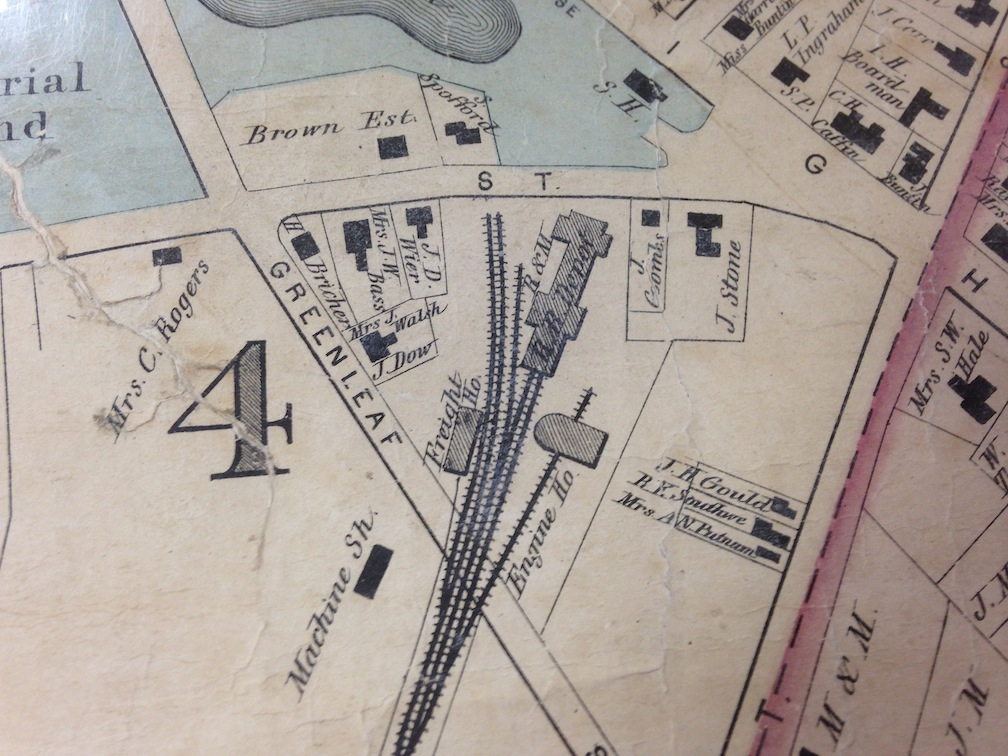 1872 Map, detail, Rail Road, Pond and Greenleaf Street