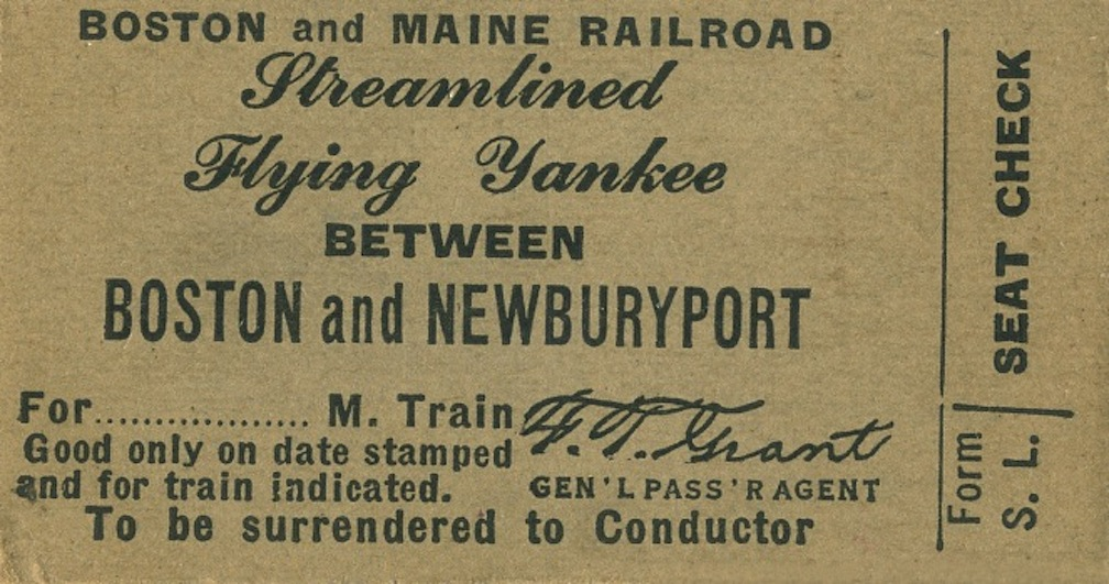 A ticket for the Flying Yankee between Boston and Newburyport