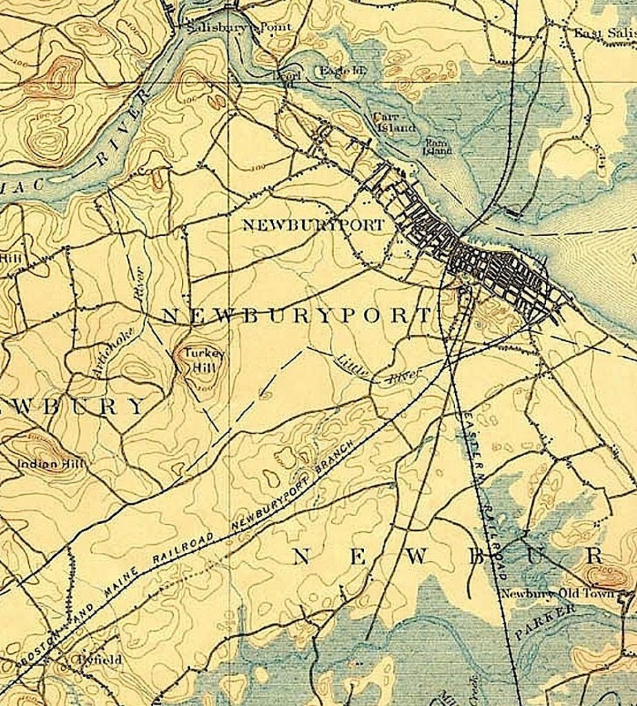 A map of the rail road routes into and out of Newburyport, from Scott's Railroad Archaeology Page