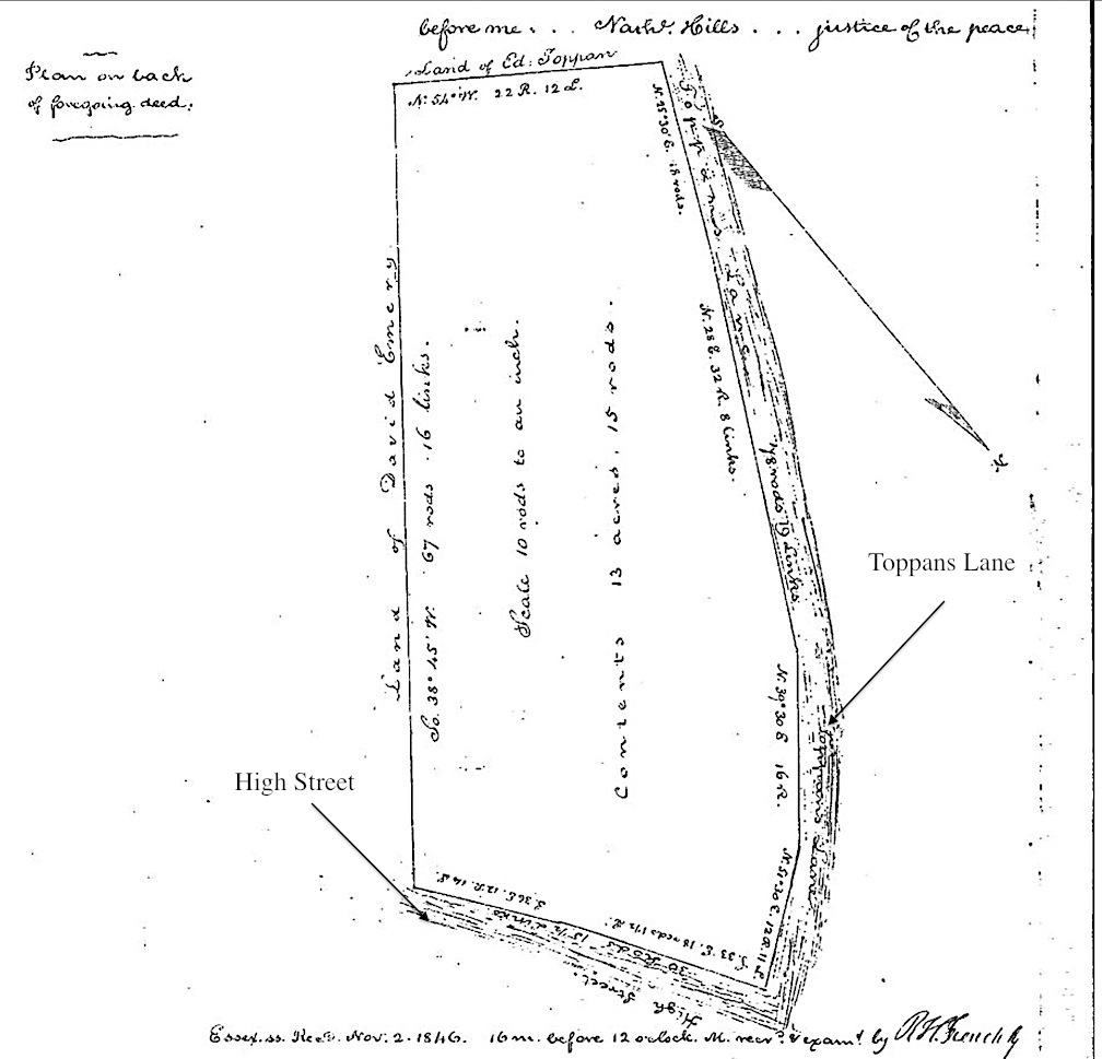 1846 map of the land, Essex Deeds, book 373, page 211