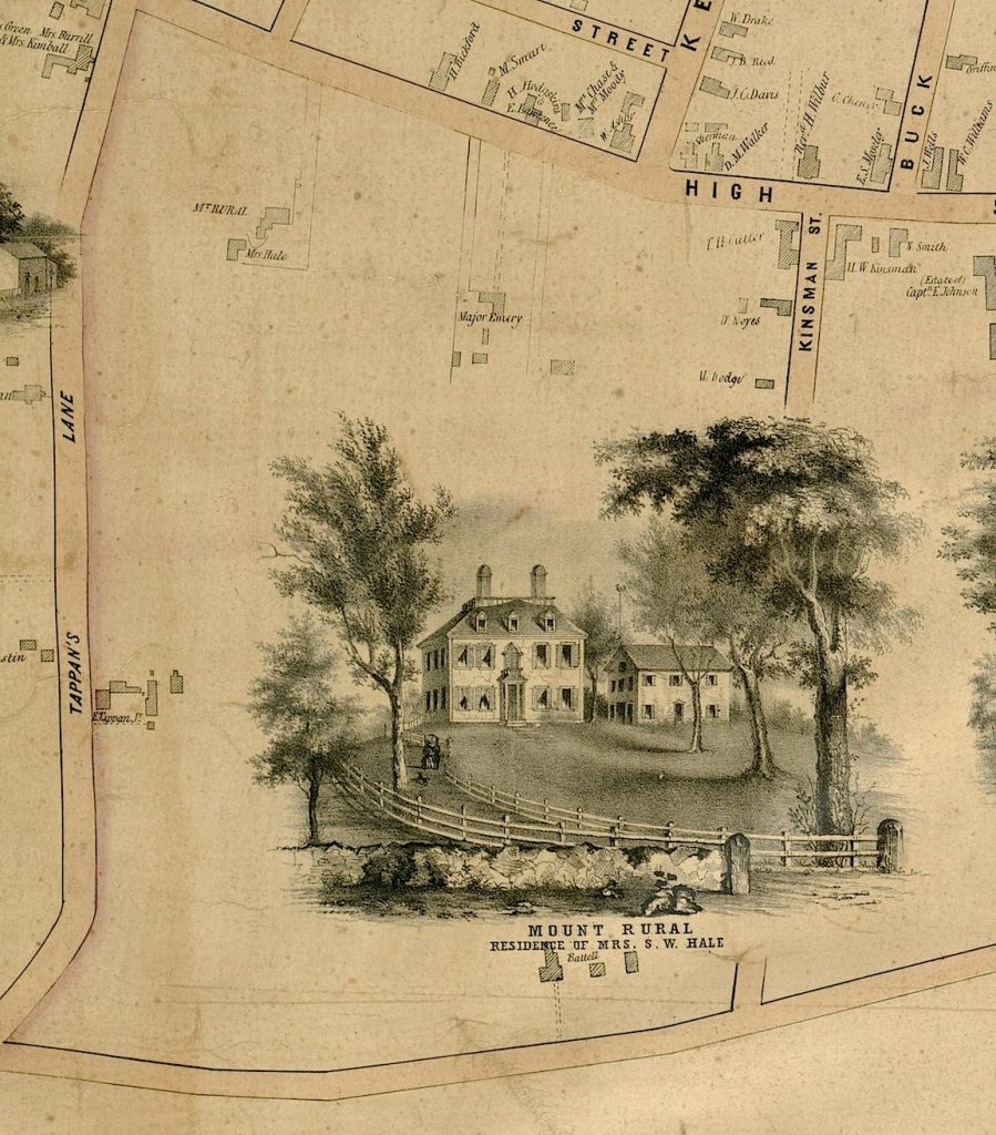 Mount Rural, Residence of Mrs. S.W. Hale, 1851 map of Newburyport