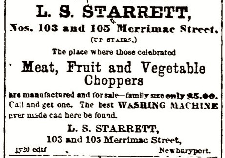 A 1868 advertisement for Laroy Starrett's meat cutter