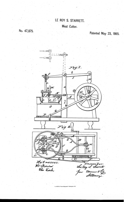 The drawings of the 1865 meat cutter by Laroy Starrett