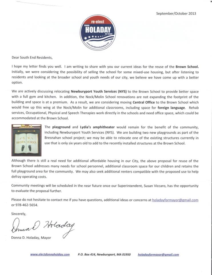 Mayor Holaday's 2013 Letter Not to Sell the Brown School